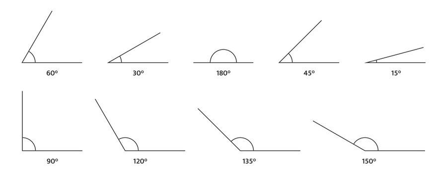 Angle icons set. 150, 135 120, 90 180 60, 45 30, 15 degree measure. Math geometric design element. Technical architect blank. Trigonometry templates. Triangle sign. Vector illustration