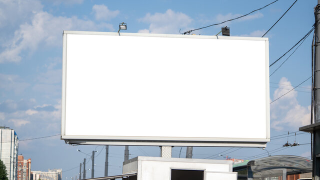 Large blank frame local place billboards mockup for outdoor advertising