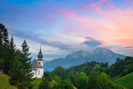 Maria Gern church at sunset in Bavaria