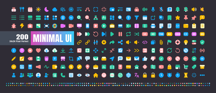 24x24 Pixel Perfect. Basic User Interface Essential Set. 200 Flat Color Icons. For App, Web, Print. Round Cap and Round Corner. Ready to use and Easy to Customize. Good for Dark Mode Theme.