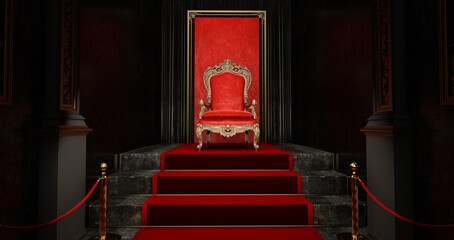 Fototapeta Red royal chair on a red and black background, VIP throne, Red royal throne, 3d render obraz