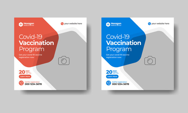 Covid-19 vaccination program social media post and web ad banner template design , suitable for marketing promotion , testing and vaccination program editable square flyer