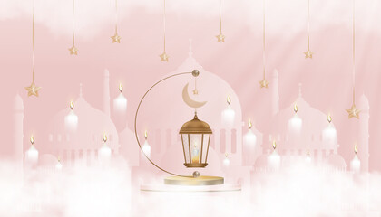 Obraz Eid Mubarak card Traditional Islamic lantern,Crescent moon and Star on pink background,Vector background for Islamic religions,Ramadan Kareem,Eid al fitr,Eid al Adha,Happy Muharram,Islamic new year - fototapety do salonu