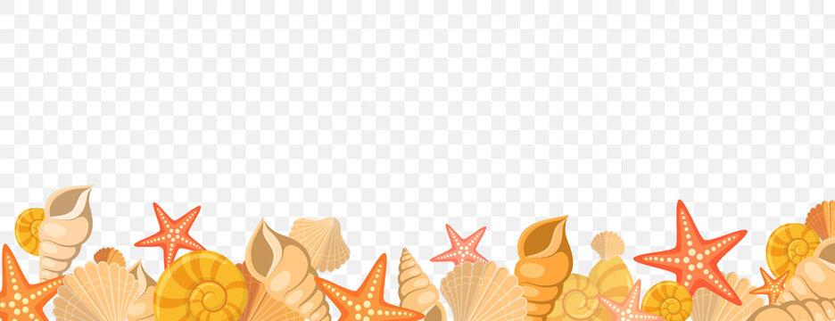 Summer beach sea shells vector border frame.