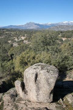 Boulder Stone in Guadarrama Mountain Range, Madrid