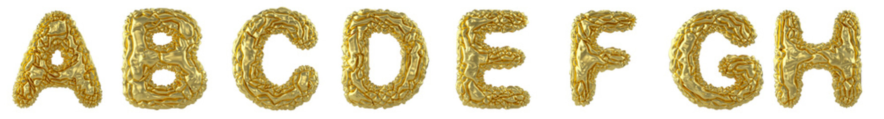 Obraz Realistic 3D letters set A, B, C, D, E, F, G, H made of crumpled foil. Collection symbols of crumpled gold foil isolated on white background. - fototapety do salonu
