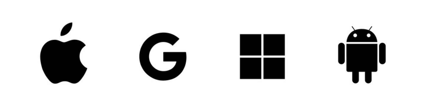 Set of top brand operating system logos. Android, Mac Os, Windows, Google.
