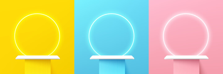 Fototapeta Set of abstract 3d shelf or white stand podium on yellow, blue, pink wall scene pastel color with neon ring background. Vector rendering geometric shape for cosmetic product display presentation. obraz