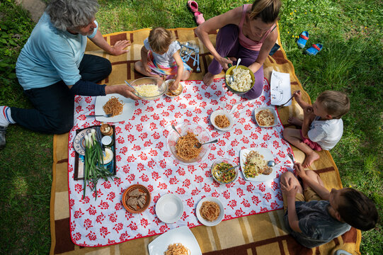 Top view of a family having a picnic in nature