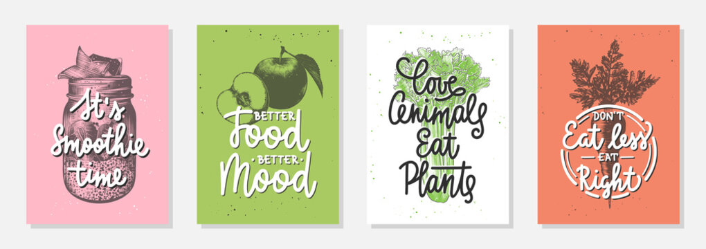 Set of 4 advertising and inspirational healthy food and eating lettering posters, decoration, prints, packaging design. Hand drawn typography with sketches. Handwritten mono line calligraphy.