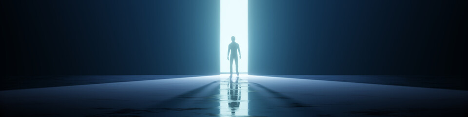 Obraz man in a strange door light - fototapety do salonu