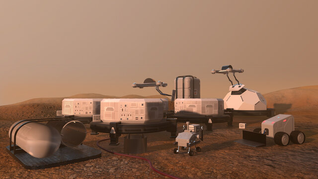 Construction of a settlement on Mars