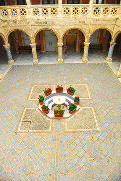 Courtyard Patio of Castle of Moon (Castillo de Luna) Town Hall of Rota, province of Cadiz Andalusia Spain