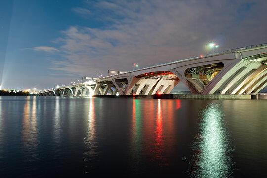 Beautiful lights of the Woodrow Wilson Bridge at Night.