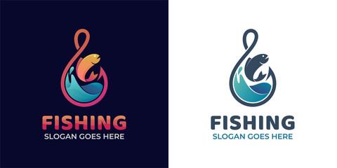 Fototapeta modern gradient logos of fishing hook with wave ocean with fresh fish for fishing and fisherman logo obraz