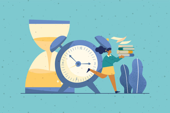 businesswoman with deadline icons