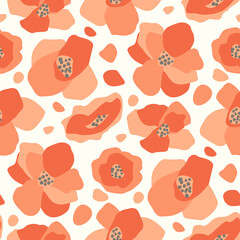 seamless vector pattern with poppies