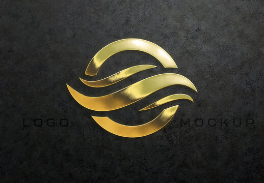 Gold Logo Mockup with Detailed Textured Effect