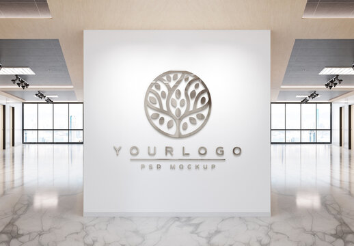 Logo Mockup on Office Wall with 3D Reflective Effect