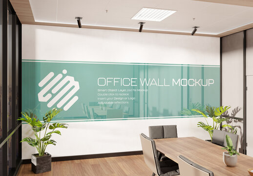 Office Wall Mockup Interior Meeting Room