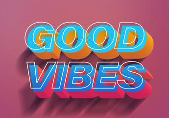 Fototapeta Colorful Vintage Eighties Vibes 3D Text Effect Style Mockup obraz