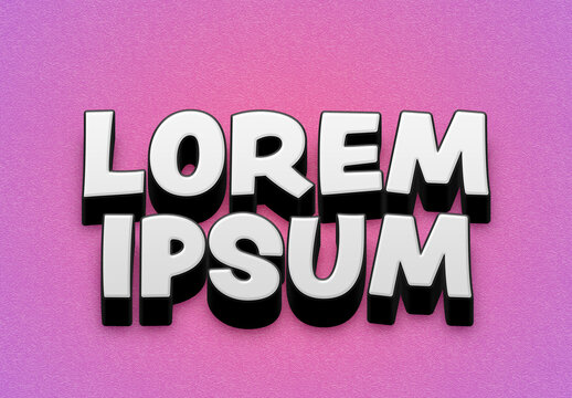 Hard Glossy 3D Text Effect Style Mockup