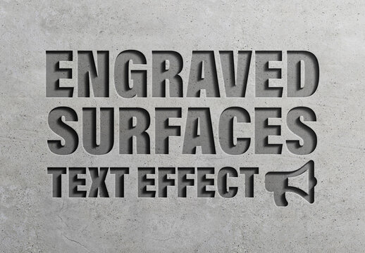 Engraved Concrete Road 3D Text Effect Style Mockup