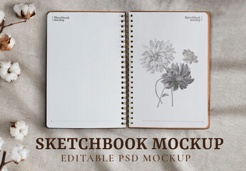 Obraz Opened Sketchbook Pages Mockup - fototapety do salonu