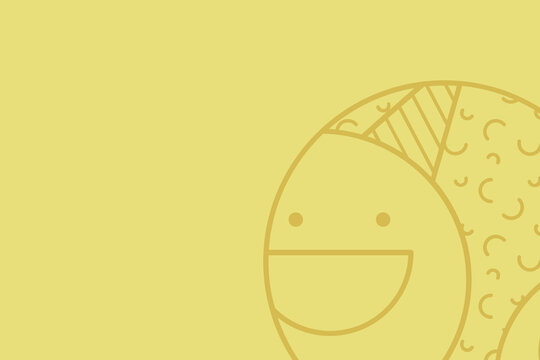 Simple yellow illustration of a round happy face