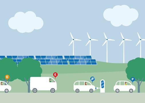 ERV充電スタンドで充電する電気自動車。ソーラーパネルと風車の再生可能エネルギーエコイメージ