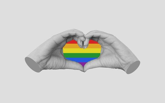 Hands making Heart symbol. LGBT ,Gay Pride concepts