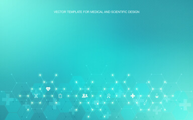 Obraz Medical background and healthcare technology with flat icons and symbols. Concept and idea for health care business, innovation medicine, health safety, science, medical research, and development. - fototapety do salonu