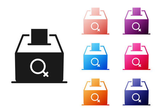 Black Female vote right icon isolated on white background. Set icons colorful. Vector