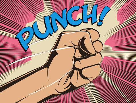 Comics fist fight punch vintage styled vector illustration