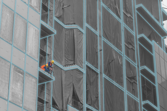 Modern buildings construction, with workers. Construction technology