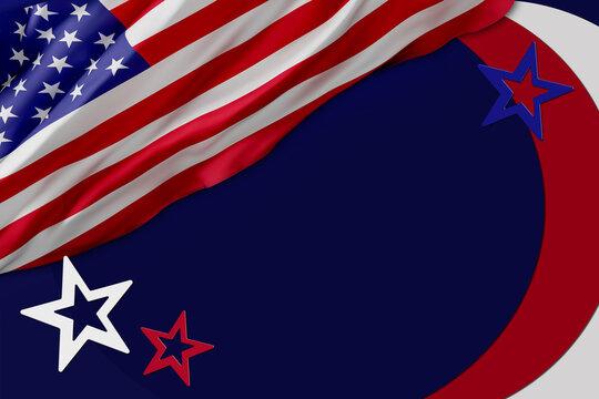 flag USA background design for independence, veterans, labor, memorial day. banner templates design. 3D illustration
