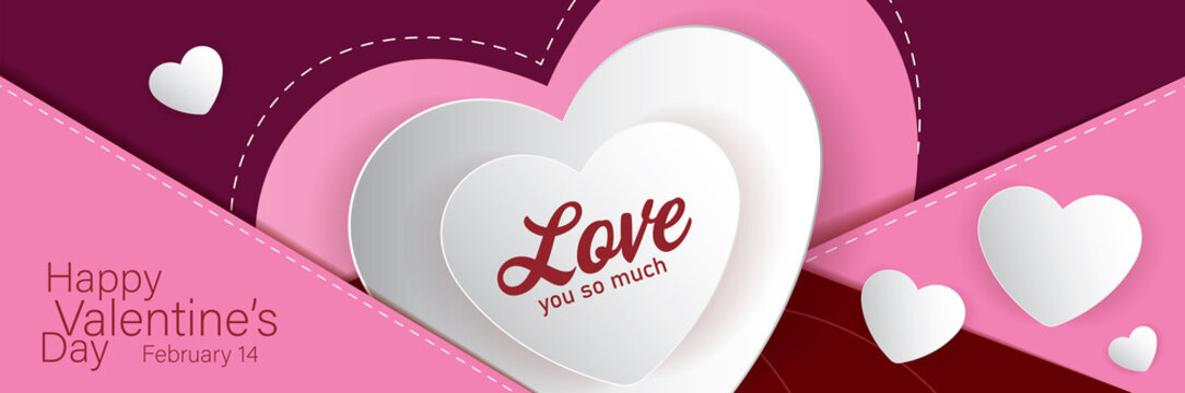 happy valentine's day banner design.  vector illustration