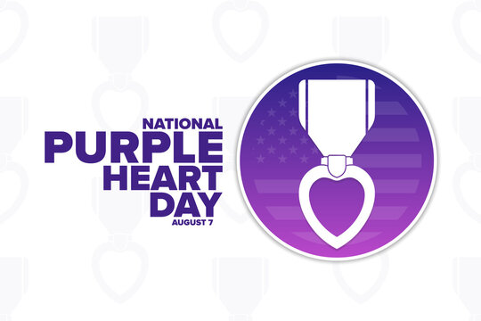 National Purple Heart Day. August 7. Holiday concept. Template for background, banner, card, poster with text inscription. Vector EPS10 illustration.