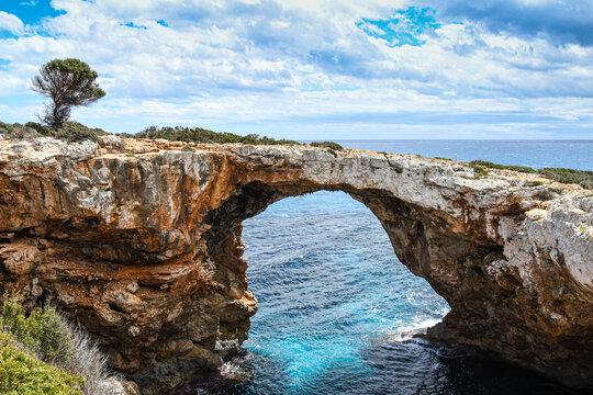 Stone arch of Cala Romantica Mallorca