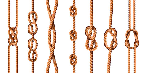Fototapeta Nautical knots. Realistic ropes with sailor or scout knot types. Tied marine jute cords with loops. Bended cartoon hemp threads vector set obraz