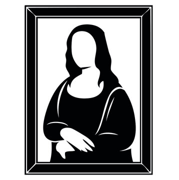 Frame of famous Leonardo da Vinci masterpiece painting & portrait of Mona Lisa, held in french Louvre museum in Paris, France, Europe, vector, illustration, in black and white color, isolated on white