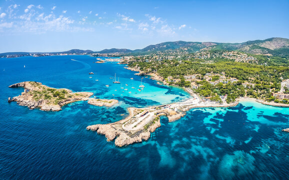 Aerial view of the sea coastline and Cala Xinxell,  Illetas, Mallorca island, Spain
