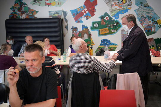 CDU leader Laschet visits emergency accommodations for flood victims in Erftstadt