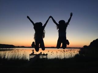 Fototapeta koleżanka dziewczynki zachód słońca obraz