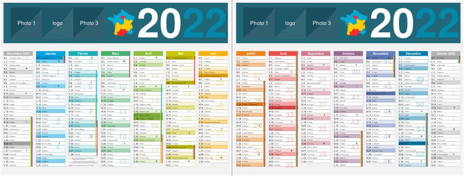 Calendrier 2022 14 mois avec vacances scolaires officielles au format 320 x 420 mm recto verso entièrement modifiable via calques et texte arial
