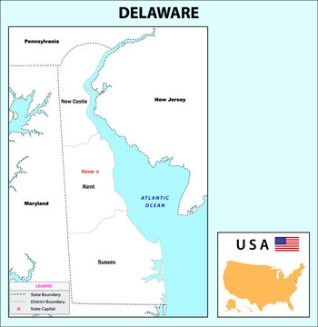 Delaware Map. State and district map of Delaware. Administrative and political map of Delaware with neighboring countries and border in white color.