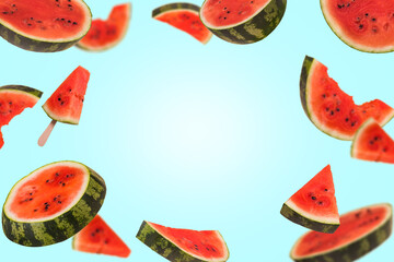 Floating, flying, levitating sliced fresh watermelon on trendy colored background with copy space.