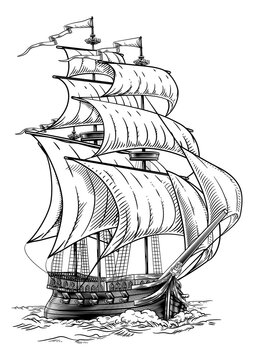 Old Fashioned Ship Vintage Etching Woodcut Style