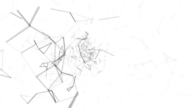 abstract white geometrical background with moving black lines and dots. looping cg animation good for youtube intro or outro in the left side with space for title, logo or score background 4K Ultra HD
