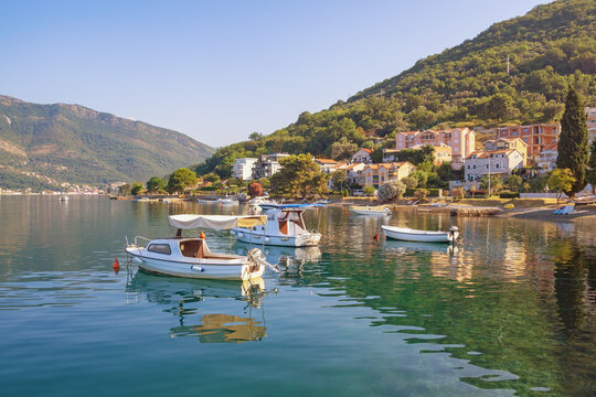 Sunny Mediterranean landscape. Montenegro, Adriatic Sea. View of  Bay of Kotor near Tivat city on summer day